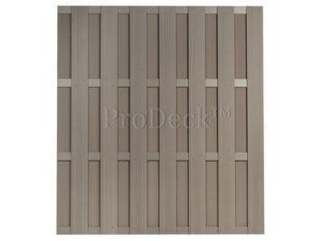 Luxe schutting • composiet • vergrijsd bruin • 4 vergrijsd bruin gecoate aluminium dwarsbalken • 180×200 cm