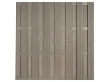 Luxe schutting • composiet • vergrijsd bruin • 4 vergrijsd bruin gecoate aluminium dwarsbalken • 180×180 cm