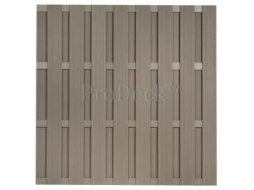 Luxe schutting • composiet • vergrijsd bruin • 4 vergrijsd bruin gecoate aluminium dwarsbalken • 180×180 cm • extra privacy