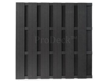Luxe schutting XL • composiet • antraciet • 4 antraciet gecoate aluminium dwarsbalken • 180×180 cm
