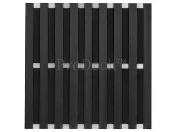 Maxi-schutting • composiet • antraciet • 10 mm dikke planken • 3 aluminium dwarsbalken • 180×180 cm