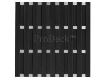 Maxi-schutting • composiet • antraciet • 10 mm dikke planken • 4 aluminium dwarsbalken • 180×180 cm