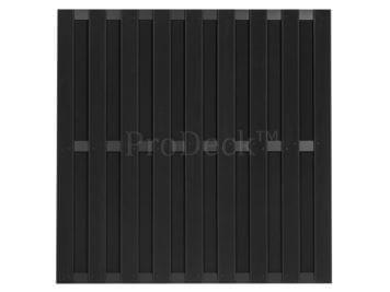 Maxi-schutting • composiet • antraciet • 10 mm dikke planken • 3 antraciet gecoate aluminium dwarsbalken • 180×180 cm