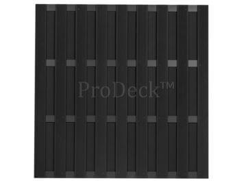 Maxi-schutting • composiet • antraciet • 10 mm dikke planken • 4 antraciet gecoate aluminium dwarsbalken • 180×180 cm