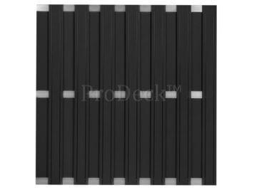 Maxi-schutting • composiet • antraciet • 13 mm dikke planken • 3 aluminium dwarsbalken • 180×180 cm