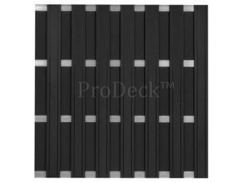 Maxi-schutting • composiet • antraciet • 13 mm dikke planken • 4 aluminium dwarsbalken • 180×180 cm