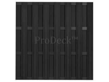 Maxi-schutting • composiet • antraciet • 13 mm dikke planken • 4 antraciet gecoate aluminium dwarsbalken • 180×180 cm