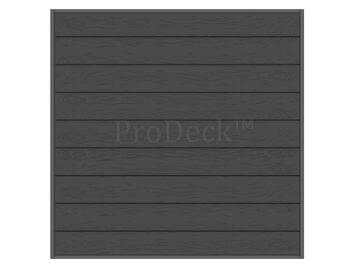 Stapelplank • schuttingset • composiet • antraciet • houtnerf • extra hoog • 180×180 cm • volledige privacy • OP = OP