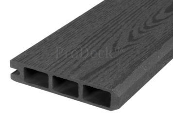 Stapelplank • eindplank • composiet • antraciet houtnerf • 179x15x2,5 cm • zelfbouwschutting