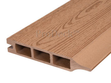 Stapelplank • composiet • bruin houtnerf • 179x15x2,5 cm • zelfbouwschutting