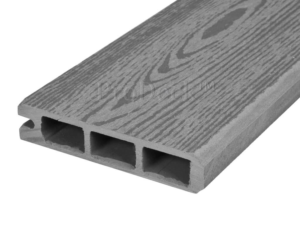 Composiet stapelplank grijs houtnerf eindplank