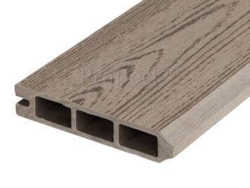 Stapelplank • eindplank • composiet • vergrijsd bruin houtnerf • 179x15x2,5 cm • zelfbouwschutting
