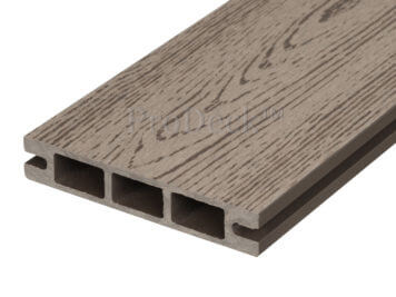 Stapelplank • raamplank • composiet • vergrijsd bruin houtnerf • 179x14x2,5 cm • zelfbouwschutting