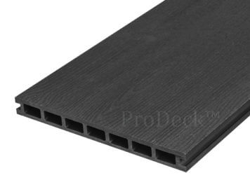 Vlonderplank • composiet • 24 cm breed • donkerantraciet • houtnerf