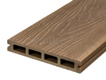 Vlonderplank • composiet • bankiraibruin • 220x15x2,5 cm • houtnerfreliëf