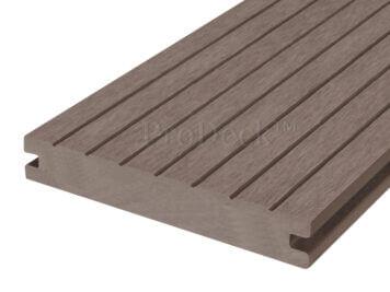 Vlonderplank • ProDeck™ • massief composiet • vergrijsdbruin • 400x15x2,0 cm • breedribbel
