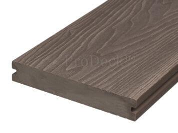 Vlonderplank • ProDeck™ • massief composiet • vergrijsdbruin • 400x15x2,0 cm • houtnerfreliëf