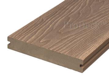 Vlonderplank • ProDeck™ • massief composiet • bankiraibruin • 400x15x2,0 cm • houtnerfreliëf