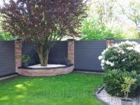 Composiet stapelplank antraciet in mooie tuin