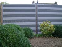 Composiet schutting stapelplank grijs en antraciet hardhouten palen