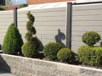 Stapelplankenschutting • grijs houtnerf