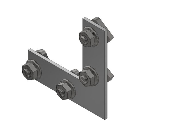 Haaksehoek voor traptreden • voor Aslon® aluminium onderbalk 4 x 4 cm • 4 x voorgemonteerde bouten en moeren